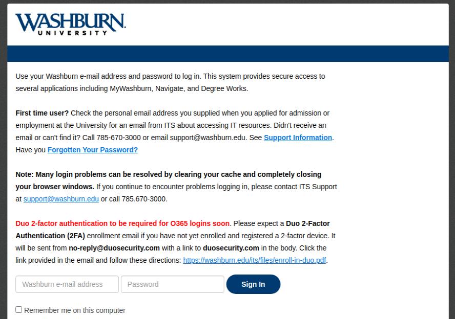 washburn university login