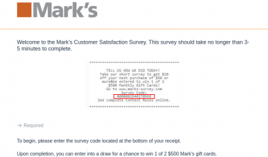 Marks Customer Survey