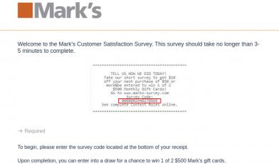 Marks Customer Survey